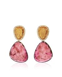 Marco Bicego - Multicolor One-Of-A-Kind Pink Tourmaline, Imperial Topaz, And Diamond Earrings - Lyst