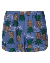 Sea - Blue Pineapple Silk Shorts - Lyst