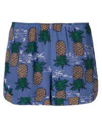 Sea | Blue Pineapple Silk Shorts | Lyst
