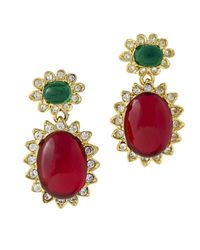 Kenneth Jay Lane - Multicolor Emerald & Ruby Cabochon Drop Clip Earring - Lyst
