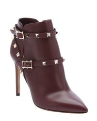 Valentino - Purple Burgundy Calfskin 'rockstud' Ankle Booties - Lyst