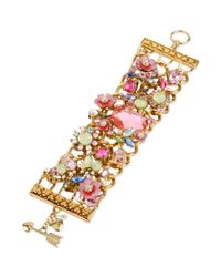 Betsey Johnson | Metallic Goldtone Crystal Charm and Pastel Flower Toggle Bracelet | Lyst