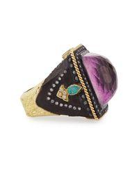 Armenta - Purple Square Lavenderite/Quartz Ring - Lyst