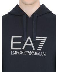 EA7 - Blue Hooded Cotton Blend Sweatshirt for Men - Lyst