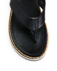 Calvin Klein - Black Leather Thong Sandals for Men - Lyst