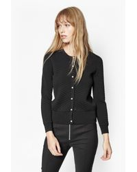 French Connection | Black Tiffany Quilted Cardigan | Lyst