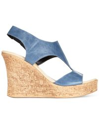 Callisto | Blue Teane Platform Wedge Sandals | Lyst