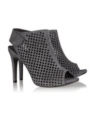 Pedro Garcia - Gray Sofia Perforated Suede Peep-toe Boots - Lyst