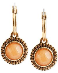 Lucky Brand | Orange Gold-tone Carnelian Drop Earrings | Lyst