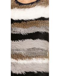 Opening Ceremony - Multicolor Womens Striped Fur Sleeveless Pullover - Lyst
