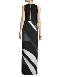 Narciso Rodriguez - Black Sleeveless Striped Crepe/chiffon Gown - Lyst