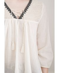 Forever 21 - Black Crochet-paneled Peasant Top - Lyst