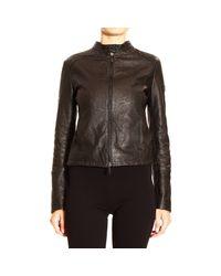 Giorgio Armani - Black Jacket Biker Leather Flower Engraving - Lyst