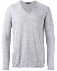 Roberto Collina - Gray V-neck Sweater for Men - Lyst