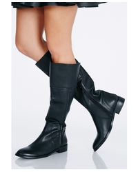 Missguided - Black Anya Zip Detail Knee High Boots - Lyst