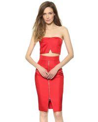 Nicholas - Bonded Silk Crop Top - Neon Red - Lyst