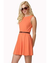 Forever 21 - Pink Paneled A-Line Dress W/ Skinny Belt - Lyst