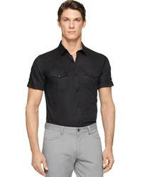 Calvin Klein | Black Twill Sportshirt for Men | Lyst