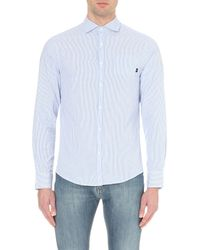 Armani Jeans | Blue Seersucker Cotton Shirt for Men | Lyst