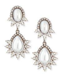 DANNIJO - White Penelope Simulated Pearl & Crystal Drop Earrings - Lyst
