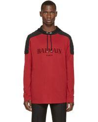Balmain - Red And Black Logo Hoodie for Men - Lyst