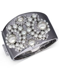 Givenchy - White Silver-tone Faux Pearl Cuff Bracelet - Lyst
