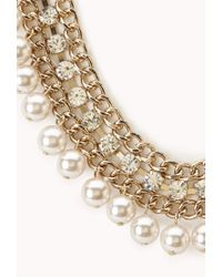 Forever 21 | Multicolor Luxe Faux Pearl & Rhinestone Necklace | Lyst