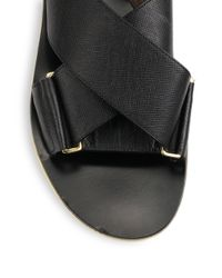 Marni - Black Leather Crisscross Sandals - Lyst