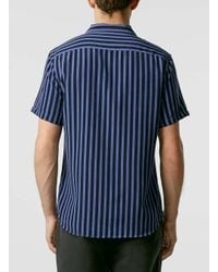 TOPMAN - Blue Bold Stripe Short Sleeve Shirt for Men - Lyst