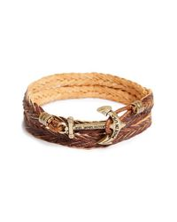 Kiel James Patrick - Brown 'jet Rowan' Woven Leather Wrap Bracelet - Antique Cognac - Lyst
