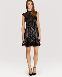 Karen Millen - Black Dress Floral Beaded Mesh - Lyst