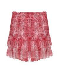 Isabel Marant | Red Zelia Silk Ruffle Min Skirt | Lyst