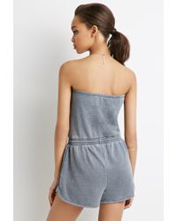 Forever 21 | Gray Strapless Fleece Romper | Lyst