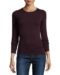 Neiman Marcus - Purple Soft Touch Long-sleeve Crewneck Top - Lyst