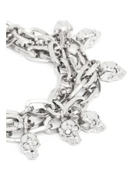 Alexander McQueen - White Crystal Skull Chain Bracelet - Lyst