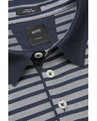 BOSS - Blue 'T-Pryde' | Slim Fit, Silk Blend Striped Polo for Men - Lyst