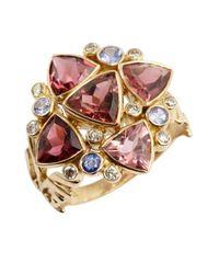 Amrapali - Metallic Diamond, Tanzanite And Tourmaline Trilliant Ring - Lyst