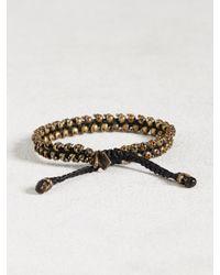 John Varvatos - Black Brass Skull Bead Cord Bracelet for Men - Lyst