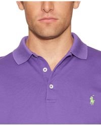 Polo Ralph Lauren - Purple Custom-Fit Stretch-Mesh Polo for Men - Lyst