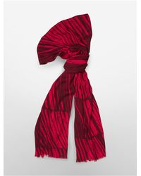 Calvin Klein - Red White Label Lightweight Night Shadow Stripe Scarf - Lyst
