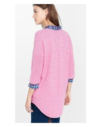 Express | Pink Marled Enginered Rib London Tunic Sweater | Lyst