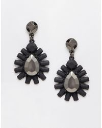 Girls On Film | Black Embellished Burst Drop Earrings | Lyst