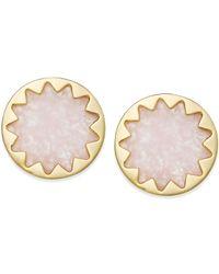 House of Harlow 1960 - Pink Gold-tone Rose Quartz Sunburst Button Earrings - Lyst