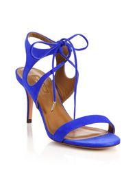 Aquazzura - Blue Colette Suede Ankle-tie Sandals - Lyst