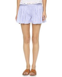 Caroline Constas | Pleated Shorts - Sky Blue | Lyst