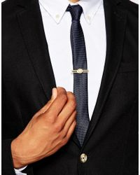 ASOS - Metallic Tie Bar With White Stone for Men - Lyst