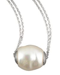 Majorica - Metallic Baroque Pearl Pendant Necklace - Lyst