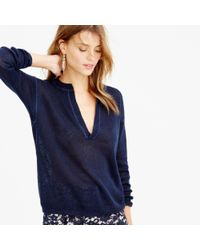 J.Crew | Blue Slit-neck Beach Sweater | Lyst