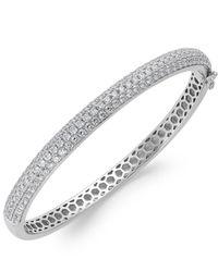 Arabella | Metallic Swarovski Zirconia Pave Bangle Bracelet In Sterling Silver (5 Ct. T.w.) | Lyst