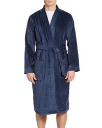 Saks Fifth Avenue | Blue Turkish Cotton Terry Velour Bathrobe for Men | Lyst